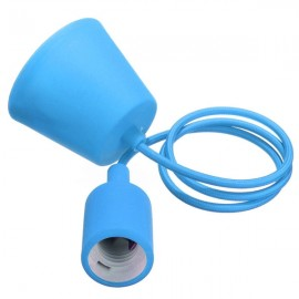 Colorful E27 Silicone Rubber Pendant Light Lamp Holder Socket for Bar Room Restaurant Blue