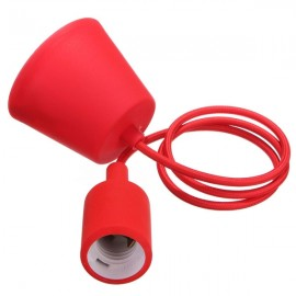 Colorful E27 Silicone Rubber Pendant Light Lamp Holder Socket for Bar Room Restaurant Red