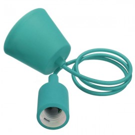 Colorful E27 Silicone Rubber Pendant Light Lamp Holder Socket for Bar Room Restaurant Light Blue