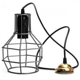E27 Edison Vintage Pendant Metal Cage Ceiling Light Lamp Black