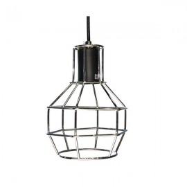 E27 Edison Vintage Pendant Metal Cage Ceiling Light Lamp Silver