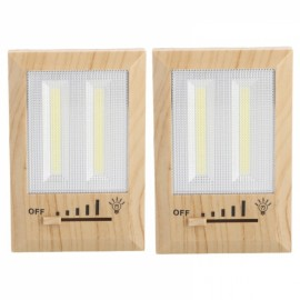 2pcs 2 COB Dimmable LED Magnetic Wall Closet Night Light Wood Color