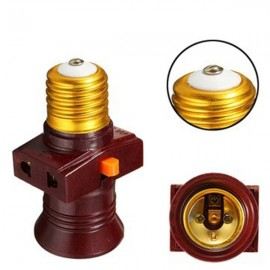 E27 Screw Base Light Holder Convert To Switch Lamp Bulb Socket Adapter 110-250V - Brown