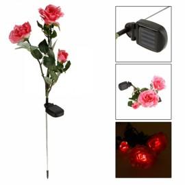 Waterproof Solar Power 3-Flower Rose Shaped LED Light Green & Pink