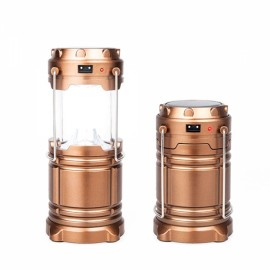 Outdoor Portable LED Solar Charge Emergency Lantern Telescopic - Bronzed