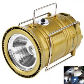 4W 350LM 6x3528SMD LED White Light Solar LED Camping Lamp Lantern Collapsible Rechargeable Light Golden EU Plug