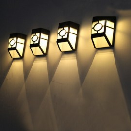 4pcs Outdoor Solar Power LED Lights Garden Path Fence Lamp - Warm White Light