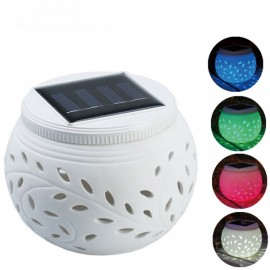 Hollow-out Ceramic Changing Colored LED Solar Lamp Solar Power Table Garden Round Light White
