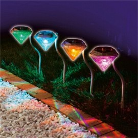 Outdoor LED Solar Waterproof Light Diamond Shaped Pin Lamp Changable Color