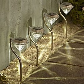 Outdoor LED Solar Waterproof Light Diamond Shaped Pin Lamp White