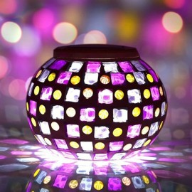 Solar Power Mosaic Colorful LED Light Garden Waterproof Glass Ball Decoration Lamp Red & Blue