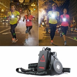 Outdoor LED Chest Light Night Running Warning Light with Removable Fixing Band USB Charge Black
