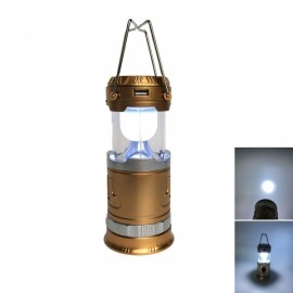Retractable Tent Solar Lantern Portable LED USB Rechargeable Camping Lamp Black & Golden Small Size