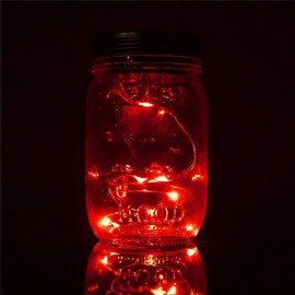 Solar Power Hanging Glass Jar Lamp 8-LED Beads Garden Courtyard Landscape Decor Light Red