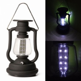 16 LED Solar Dynamo Camping Lamp Light Rechargeable Lantern with Hand Crank Black