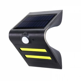 2 LED COB Motion Sensor Solar Light Outdoor Wireless Wall Lamp Solar Energy Power Lamp Black Shell & Blue Atmosphere