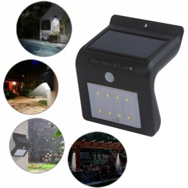 8 LED Wall Light Outdoor Solar Powered PIR Motion Sensor Security Light Black