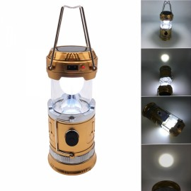Camping Portable Tent LED Solar Lantern USB Rechargeable Retractable Light