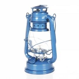 25CM Mediterranean Style Wrought Iron LED Kerosene Alcohol Lamps Portable Lantern Light Blue