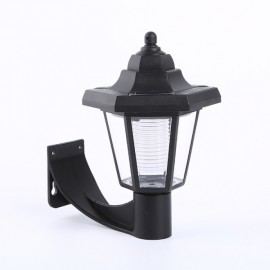 16 LED Solar Powered Small Hexagonal LED Sensor Garden Wall Lamp Black
