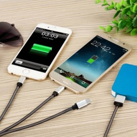 Earldom ET-867 3-in-1 USB Cable Data Charge w/ Dual 8pin & Micro USB Silver