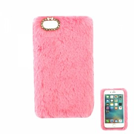 "Ultra Slim Rabbit Hair Rhinestone Back Case for 4.7"" iPhone 7 Pink"