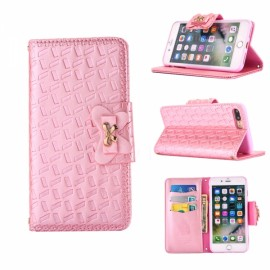 Embossed w/ Butterfly Buckle Combo Leather Case for iPhone 6/6S Plus Pink