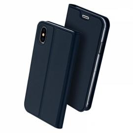 DUX DUCIS Magnetic Flip Card Slot Bracket PU Leather Case for iPhone X - Blue