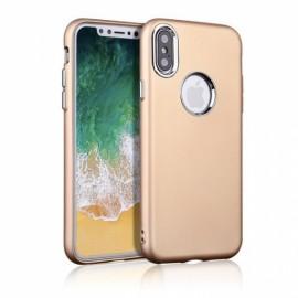Ultra-thin Metallic Paint Buttons TPU Soft Phone Case for iPhone X Golden
