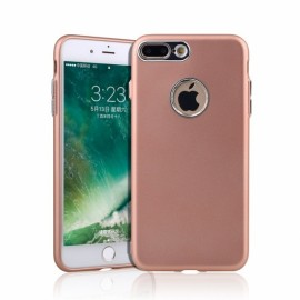 Metallic Paint Buttons TPU Soft Case Phone for iPhone 7/8 Plus Rose Golden