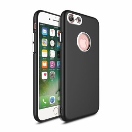 Slim TPU Soft Phone Case Metallic Paint Buttons for iPhone 7/8 Black