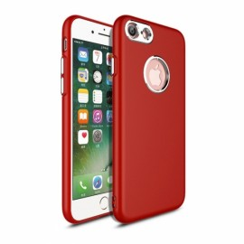 Metallic Paint Buttons Anti-fingerprint TPU Soft Phone Case for iPhone 7/8 Red