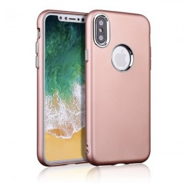 Metallic Paint Buttons TPU Soft Case Phone for iPhone X Rose Golden