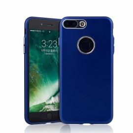 Metallic Paint Buttons TPU Non-slip Soft Case for iPhone 7/8 Plus Blue