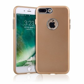 Thin Metallic Paint Buttons TPU Soft Phone Case for iPhone 7/8 Plus Golden