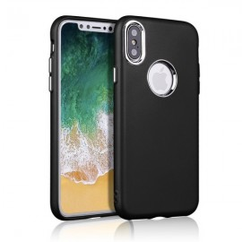 Slim TPU Soft Phone Case Metallic Paint Buttons for iPhone X Black