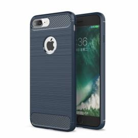Carbon Fiber Soft TPU Case Anti Fingerprint for iPhone 8/7 Plus Blue