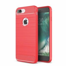 Carbon Fiber Brushed Finish Anti Fingerprint Soft TPU Case for iPhone 8/7 Plus Red