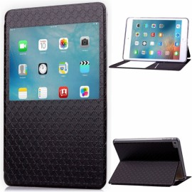 Rhombus Pattern PU Leather Protective Case with Viewing Window for iPad Mini 4 Black