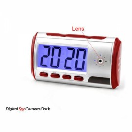 Digital Alarm Clock with Hidden Camera + Motion Sensor Red