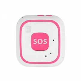 RF-V28 Built in Antenna Kids Child WiFi GPS LBS AGPS Tracker SOS Alarm Mini Locator Tracking Pendant - Pink+White