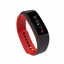 Silicone OLED Waterproof IP67 Smart Heart Rate Bracelet Red & Black