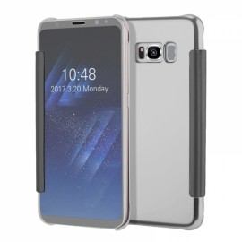 Electroplating Acrylic Mirror PC Smart Flip Full Case for Samsung Galaxy S8 Plus Silver
