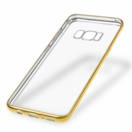 Soft TPU Plating Frame Ultra-thin Transparent Shockproof Cover Case for Samsung Galaxy S8 - Gold