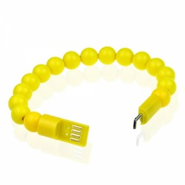 Colorful Acrylic Buddha Beads Bracelet Micro USB Cable for Samsung LG HTC Android  Smart Phones Yellow