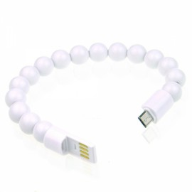 Colorful Acrylic Buddha Beads Bracelet Micro USB Cable for Samsung LG HTC Android  Smart Phones White