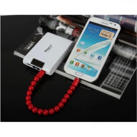 Colorful Acrylic Buddha Beads Bracelet Micro USB Cable for Samsung LG HTC Android  Smart Phones Red