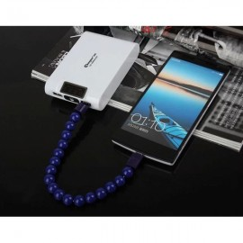 Colorful Acrylic Buddha Beads Bracelet Micro USB Cable for Samsung LG HTC Android  Smart Phones Royalblue