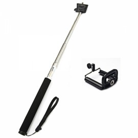 Handheld Retractable Aluminum Alloy Monopod Mount for iPhone / HTC / Samsung Black