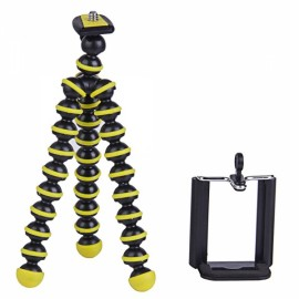 "2-in-1 6.5"" Octopus Mini Tripod + Clip for Phone/DSLR Camera Black & Yellow"
